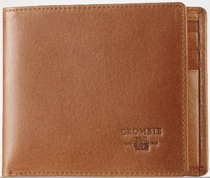 Crombie light tan men's leather wallet: £55.