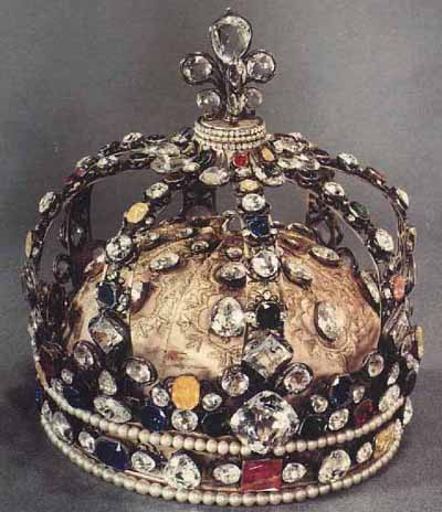 The coronation crown of Louis XV. It was originally set with the Regent and Sancy Diamonds, the Sancy being the larger stone at the top of the crown in the fleur-de-lis. The Regent is in the circlet on the front of the crown.