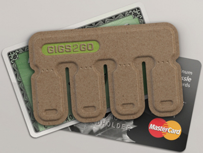 USB Business Card Gigs2Go: low cost, tear-away flash drive that fits in your wallet.