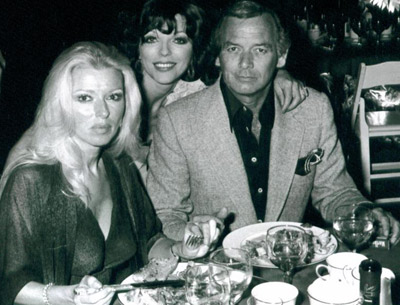 Los Angeles socialite and Oscar partygiver Dani Janssen with her late actor husband David Janssen, and actress Joan Collins.