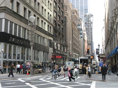 The Diamond District. View of the Diamond District at 47th Street and 5th Avenue.