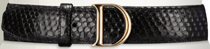 D by Dior Black Python Women's Belt.