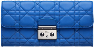 'Miss Dior' Découverte women's wallet in blue Persan leather.