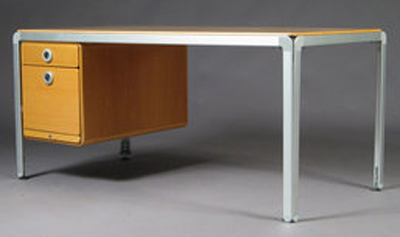 DJOB AJ writing desk designed by Danish architect and designer Arne Jacobsen in 1971 for the Danish National Bank.