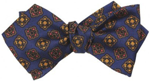 Drake's London 36oz Printed Silk Bow Tie Navy with brown, yellow and red: £95.