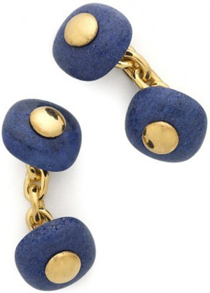 Drake's Hallmarked Gold Plated Sterling Silver Lapis Cufflinks: £455.