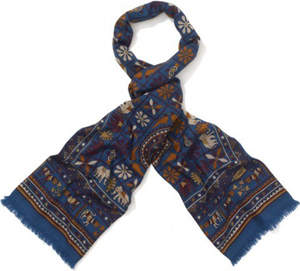 Drake's London Indian Elephant Print Wool and Silk Scarf: £285.