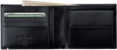 S.T. Dupont Coin Purse Billfold 4CC Elysée Black Wallet.