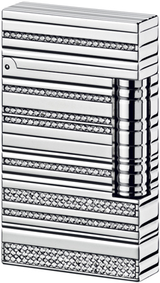 S.T. Dupont Ligne 2 Sparkling White Gold Lighter.
