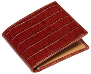 Emmett London Cognac Textured Folding Leather Wallet: £145.
