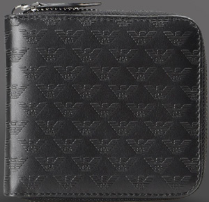 Emporio Armani zip around calfskin wallet with all over logo: €235.