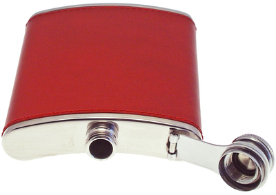 Ettinger Lifestyle Red 6oz Leather Bound Captive Top Hip Flask: £95.