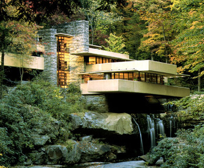 Fallingwater designed by American architect Frank Lloyd Wright. Mill Run, Pennsylvania, U.S.A.