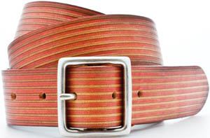 Fullgrain handpainted leather men's belt with solid brass buckle.