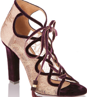 Salvatore Ferragamo Sandal in Velvet and Lace: US$1,390.