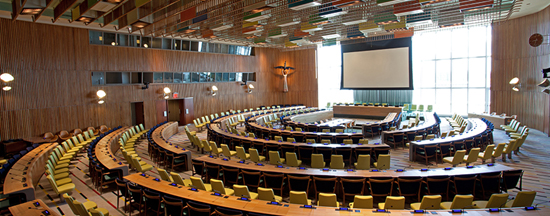 United Nations' Trusteeship Council Chamber. Designed by Finn Juhl.