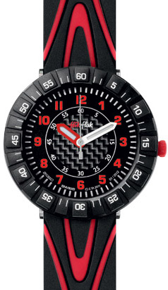 Flik Flak Shaped Red watch.