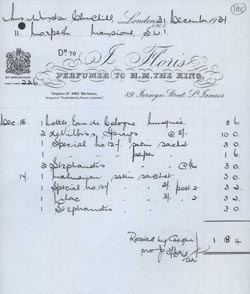 Winston Churchill's receipt for his purchase of Floris Special No. 127 of December 31, 1934.