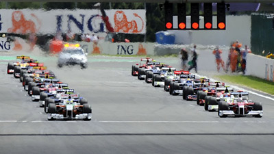 Starting grid at Formula 1 Grand Prix.