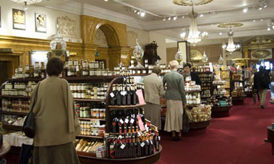 Buying olive oil at Fortnum & Mason, London, U.K.