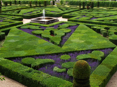 French formal garden of Château de Villandry (Indre-et-Loire), France.