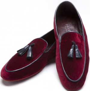 Frette Sir Bordeaux Velvet Slippers with Ripping.