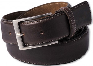 Gagliardi Brown Luxury Plain Leather Belt Beige Contrast Edge Stitching: €29.