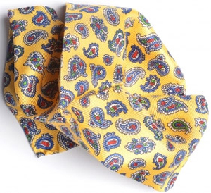 Gagliardi Yellow With Royal & Red Paisley Pocket Square: €14.