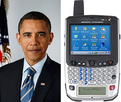 President Barack Obama and his General Dynamics Sectéra Edge Smartphone.