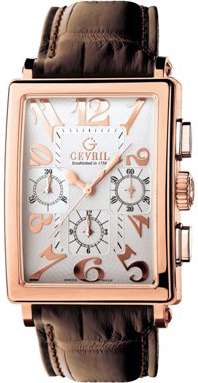 Gevril Mens 5110 Avenue of Americas Limited Edition Rose Gold Chronograph Watch.