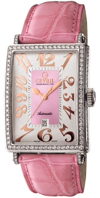 Gevril Ladies 6208RV Avenue of Americas Glamour Automatic Pink Diamond Watch.