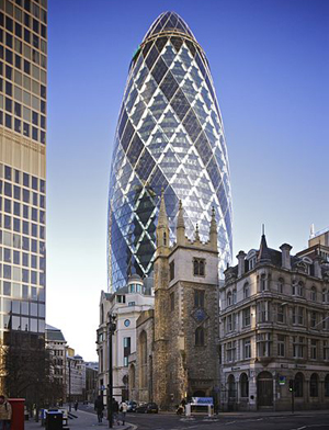 30 St Mary Axe (colloquially referred to as the Gherkin) by Norman Foster (2003).