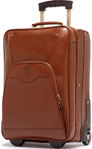 Ghurka Pontoon II No. 233 Vintage Chestnut Leather Rolling Luggage: US$1,995.