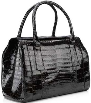 Nancy Gonzales Black Patent Structured Crocodile Tote.