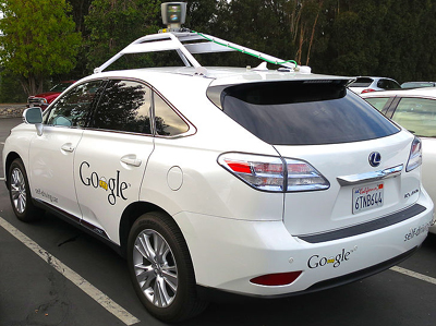 Lexus RX450h retrofitted as a Google driverless car.