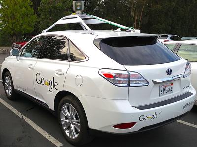 Lexus RX450h retrofitted as a Google driverless car.