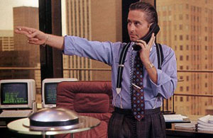 Gordon Gekko's power look.