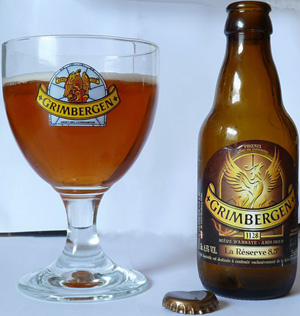 Traditional Grimbergen beer & glass.