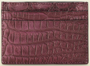 Gucci women's cherry color crocodile with cherry leather trim card case: US$295.