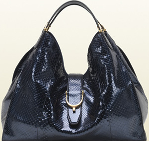 Gucci Soft Stirrup Dark Blue Python Shoulder Bag: US$4,800.