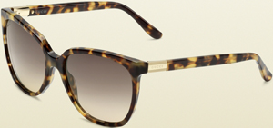 Gucci medium square frame sunglasses with gucci web plaque logo and web: US$295.