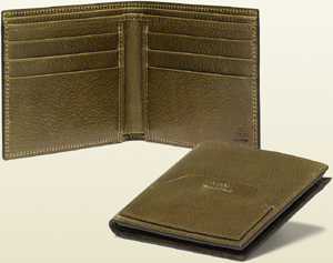 Gucci Green Leather Bi-fold Wallet: US$360.