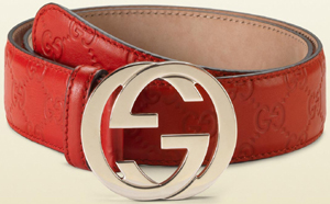 Gucci red guccissima women's leather belt with red leather trim and interlocking G buckle: US$355.