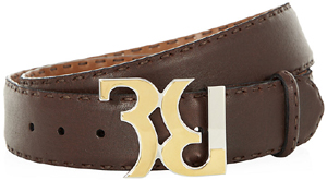 Billionaire Logo Buckle Leather Men's Belt.