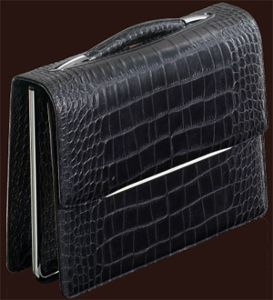 HENK Attaché Case is made of the finest calfskin embossed with Crocodile motif in the colour Black Bull.