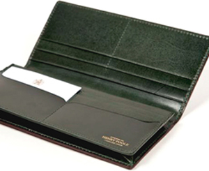 Henry Poole Brown / Green Bridle Leather Long Wallet with Exterior Note Pocket: &#163:145.