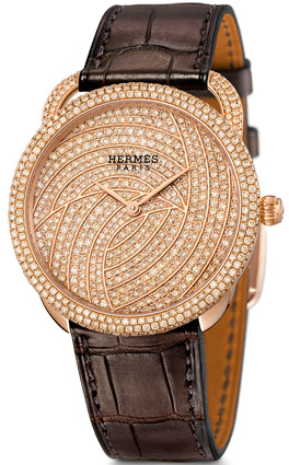 Hermès Arceau rose gold set with brown diamonds watch: US$88,200.