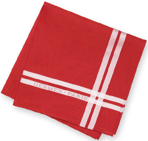 Hermès Jacquard handkerchief in red, 100% cotton, hand-rolled: US$145.
