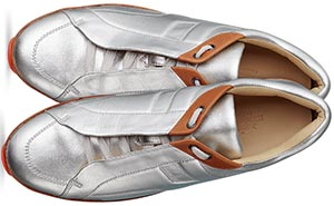 Hermès ladies' sport shoe in silver nappa laminated leather and gold calfskin: US$900.