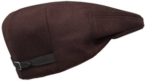 Hermès Qlub men and women's hat in prune waterproof cashmere with adjustable strap in black leather, acetate lining: US$690.